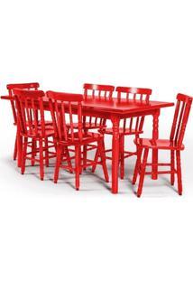 Conjunto De Mesa 160X80 Mônaco Com 6 Cadeiras Assento Grande - Vermelho - Btb Móveis