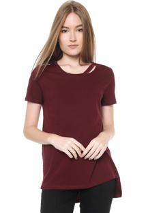 Camiseta Calvin Klein Jeans Recortes Vinho