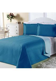Cobre-Leito Dourados Enxovais Dual Color Turquesa E Azul Claro Casal 03 Peças
