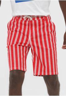 Bermuda Sarja 2Nd Floor Reta Listrada Vermelha - Vermelho - Masculino - Algodã£O - Dafiti