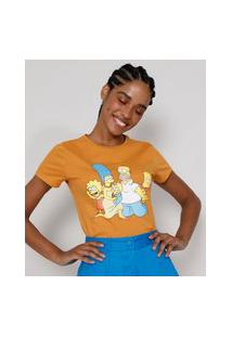 Camiseta Feminina Manga Curta Os Simpsons Decote Redondo Mostarda
