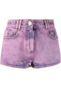 Balmain Short Jeans Com Patch De Logo - Rosa