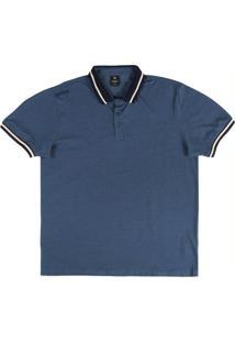 Camiseta Polo Manga Curta Azul