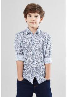 Camisa Mini Pf Floral Carnaval Micro Infantil Reserva Mini Masculina - Masculino-Branco