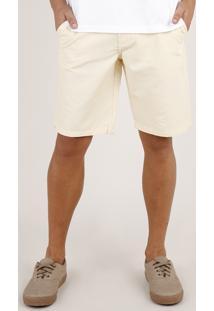 Bermuda Masculina Reta Com Textura Amarela