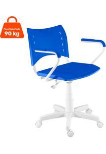 Cadeira De Escritório Secretária Giratória Evidence Branco E Azul
