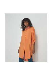 Camisa Lisa Alongada Em Viscolinho   Marfinno   Laranja   P