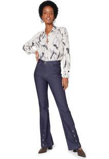 Calça Jeans Flare Abertura Frente