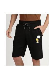 Bermuda De Moletom Masculino Relexad Os Simpsons Com Bolsos Preta