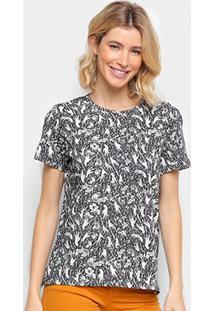 Camiseta Colcci Full Print Feminina - Feminino-Preto