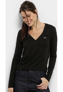 Camiseta Lacoste Manga Longa Decote V Feminina - Feminino-Preto