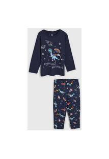 Pijama Brandili Longo Infantil Dinossauro Azul-Marinho