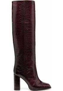 Paris Texas Bota Bico Quadrado Com Efeito De Pele De Crocodilo - Roxo