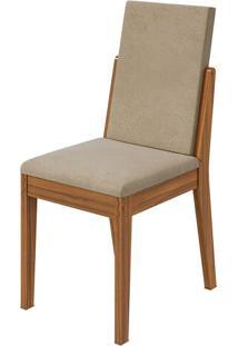 Cadeira Lira Veludo Naturale Creme Rovere Naturale
