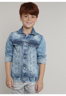 Jaqueta Jeans Infantil Com Rasgos Azul Médio