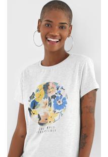 Camiseta Fiveblu Flores Cinza - Cinza - Feminino - Algodã£O - Dafiti