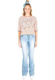 T-Shirt Zinco Decote Redondo Listras Com Silk Laranja