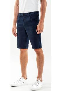 Bermuda Jeans Reta Com Elastano Azul