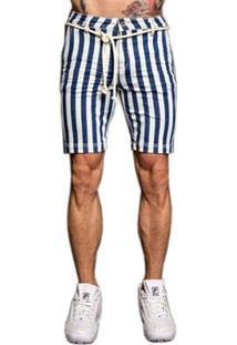 Bermuda Jeans Pargan Listrada Masculina - Masculino-Azul+Branco