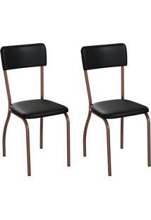 Conjunto Com 2 Cadeiras Nowra Preto E Cobre