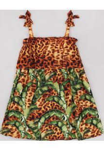Vestido Infantil Água De Coco Tal Mãe Tal Filha Bananeira Animal Print Onça Alças Finas Caramelo