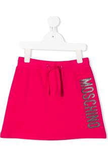 Moschino Kids Saia Com Logo E Ajuste No Cós - Rosa