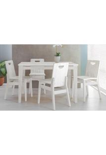 Sala De Jantar Com Mesa E 4 Cadeiras Tucupi 120Cm - Acabamento Stain Branco