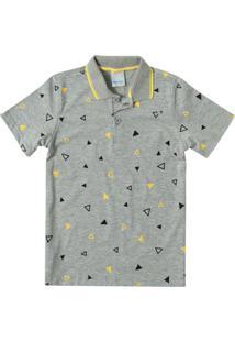 Camisa Cinza Claro Polo Geométrica