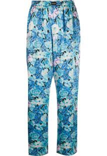 Balenciaga Calça De Pijama Com Estampa Floral - Azul