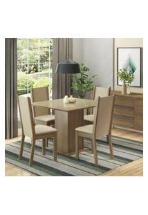 Conjunto Sala De Jantar Moscou Plus Madesa Mesa Tampo De Vidro Com 4 Cadeiras Rustic/Crema/Pérola