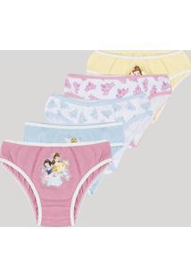Kit De 5 Calcinhas Infantis Princesas Multicor