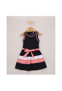 Vestido Infantil Com Recortes E Laço Alça Larga Azul Marinho