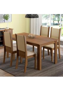 Conjunto Sala De Jantar Madesa Melissa Mesa Tampo De Madeira Com 4 Cadeiras Marrom - Tricae