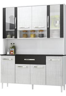 Armário Cozinha Cancun Branco/Gelo/Preto 8 Portas 1 Gavetão - Incorplac