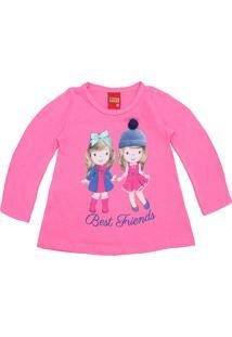 Camiseta Kyly Menina Estampa Frontal Rosa