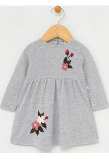 Vestido Infantil Com Bordados De Flores - Tam 0 A 18 Meses