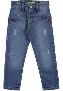 Calça Look Jeans Skinny Jeans Masculina Infantil - Masculino-Azul