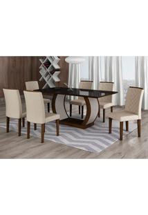 Conjunto De Mesa De Jantar Com 6 Cadeiras Maia Ii Veludo Castor E Creme