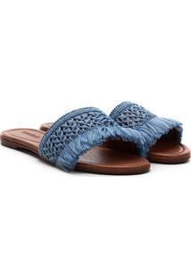 Rasteira Azaleia Franjas - Feminino-Azul