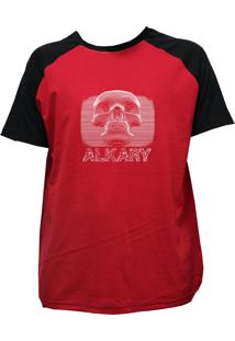 Camiseta Alkary Raglan Manga Curta Caveira 3D Vermelha E Preta