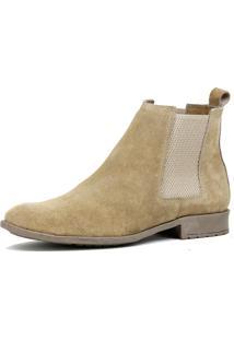 Bota Chelsea Masculina Mr Shoes Camurça Areia
