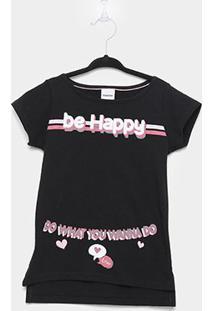 Camiseta Infantil Rovitex Be Happy Alongada Feminina - Feminino-Preto