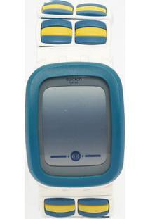 Relógio Digital Com Relevo Suvw100A- Branco & Azul- Swatch