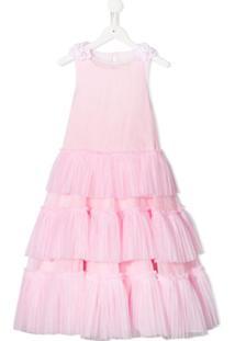 Monnalisa Vestido Com Sobreposição Translúcida - Rosa