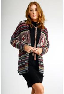 Casaco Aberto Wool Line Listrado Feminino - Feminino
