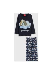 Pijama Tricae Longo Infantil Cachorrinho Azul-Marinho