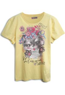 Camiseta Colcci Fun Menina Frontal Amarela