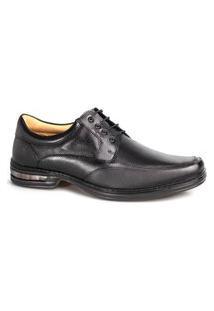 Sapato Couro Rafarillo Masculino Duo Air Cadarço Conforto Preto