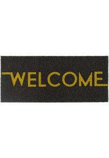 "Capacho ""Welcome""- Preto & Bege- 70X30Cm- Kapazikapazi"