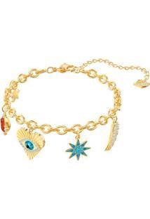 Pulseira Lucky Goddess Banhada À Ouro- Dourada & Azul